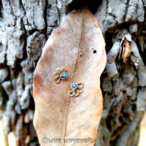 Tribal Stud Earring Flowers Sky Blue