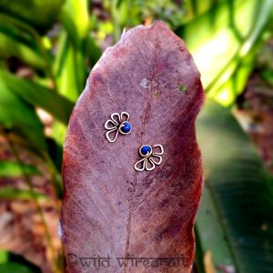 Tribal Stud Earring Flowers Night Blue